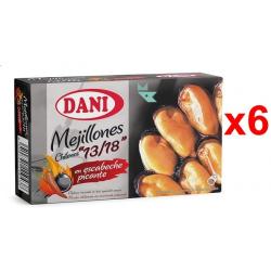 Chollo - Pack 6x Latas Mejillones chilenos 13/18 Escabeche picante Dani (6x106g)