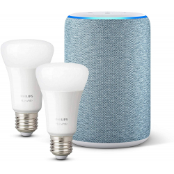 Chollo - Pack Amazon Echo (3.ª generación) + 2x Philips Hue White Bombilla LED E27