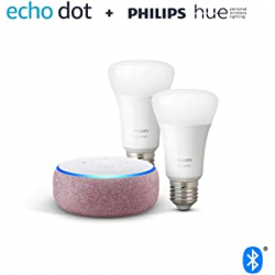 Chollo - Pack Echo Dot (3.ª generación) + 2 Bombillas Philips Hue White