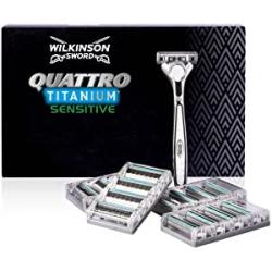 Chollo - Pack Maquinilla de afeitar Wilkinson Sword Quattro Titanium Sensitive + 17 recambios - 7005099T