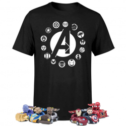 Chollo - Pack Marvel Vengadores: Camiseta + 6 Coches Pullback + 6 Bolis