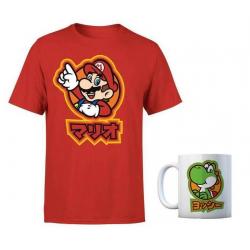 Chollo - Pack Nintendo Super Mario Kanji Camiseta + Taza