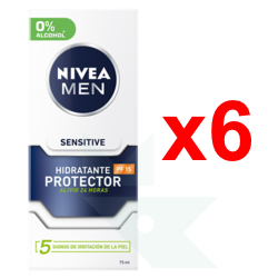 Chollo - [Pack Pantry] 6x Nivea Men Sensitive Hidratante Facial Protector con FP15 (6x75ml)