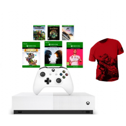 Chollo - Pack Xbox One S 1TB All-Digital + 6 Juegos + Camiseta