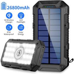Chollo - PowerBank Solar 26800mAh FKANT 960S con 3 Puertos USB + Carga inalámbrica