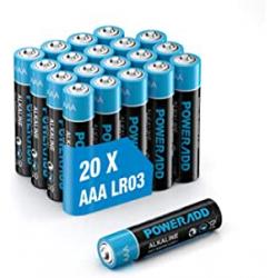Chollo - Poweradd AAA 1.5V LR03 Pila alcalina Blíster 20x