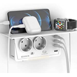 Chollo - GuuKin Regleta de pared 2 enchufes + 4 USB con estante | SocketShelf001