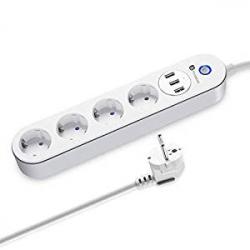 Regleta Inteligente Houzetek SA-P402A con 4 Tomas + 3 USB
