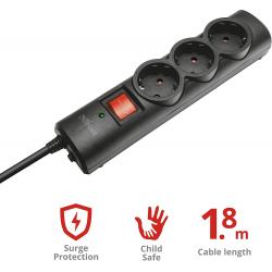 Chollo - Regleta Trust Surge Protector 3 Tomas con Protección (21056)