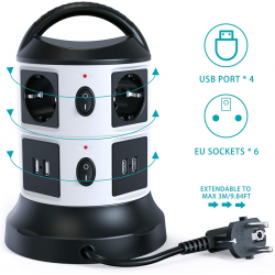 Chollo - Regleta Vertical Sameriver 6 Tomas + 4 USB
