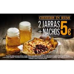 Nachos y 2 Jarras de Cerveza en Ribs