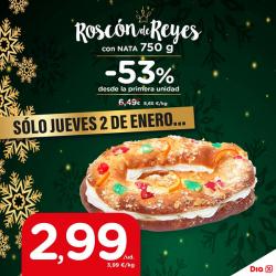 Chollo - Roscón de Reyes DIA Relleno de Nata (750g)