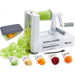 Sboly Espiralizador de verduras con 5 cuchillas,spiralizer vegetal con contenedor
