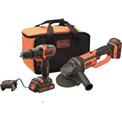 Chollo - Set Black+Decker BCK24D2S-QW Taladro atornillador percutor y Amoladora con 2 Baterías