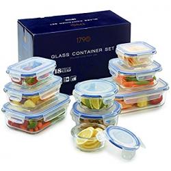 Chollo - Set 1790 de 9 recipientes de vidrio con tapa (18 piezas)