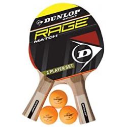 Chollo - Set 2 Palas Ping Pong Dunlop AC Rage Match + 3 Pelotas