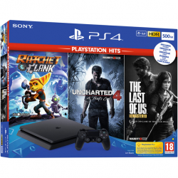 Chollo - Sony PlayStation 4 500GB Chasis F + Ratchet&Clank + The Last Of Us + Uncharted 4