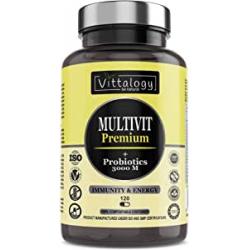 Chollo - Vittalogy Multivit Premium. Multivitaminas Con Sales Minerales y Probióticos. Combate El Cansancio Y Aumenta Las Defensas. Hombre Y Mujer. Mejora En E